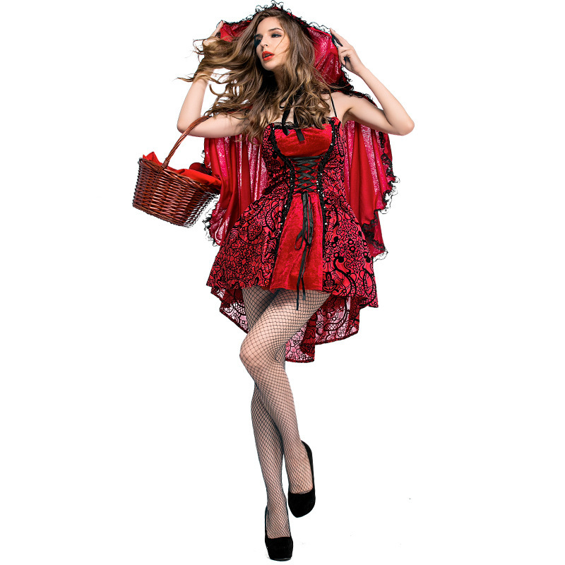 Gothic Halloween Party Dresses Fairy Tale Little Red Riding Hood Stage Women Dresses Sexy Fancy Party Carnival Costumes