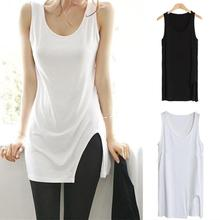 New Fashion Women Summer Solid Color Side Slit Tank Top Roun