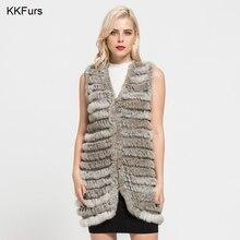 ФОТО jkkfurs new arrivals women's real rabbit fur vest natural fur long vest fashion style top quality waistcoat lady gilet s7111