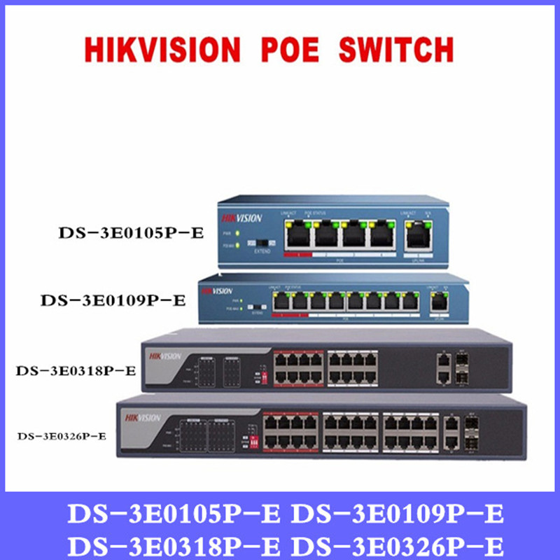 Hikvison 4-Port 8-Port 16-Port 24-Port PoE Switch DS-3E0105P-E DS-3E0109P-E DS-3E0318P-E DS-3E0326P-E 250m Transmission distance 003 120181 01 for christi e ds 26 ds 300 ds 305 ds 305w compatible lamp with housing free shipping