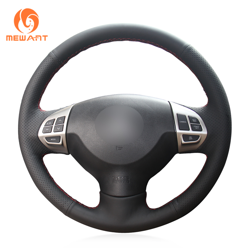 MEWANT Black Artificial Leather Steering Wheel Cover for Mitsubishi Lancer X 10 2007-2015 Outlander 2006-2013 ASX 2010-2013 steering wheel cover for mitsubishi outlander 2013 2014 mirage 2014 asx l200 2015 2016 braid on the steering wheel
