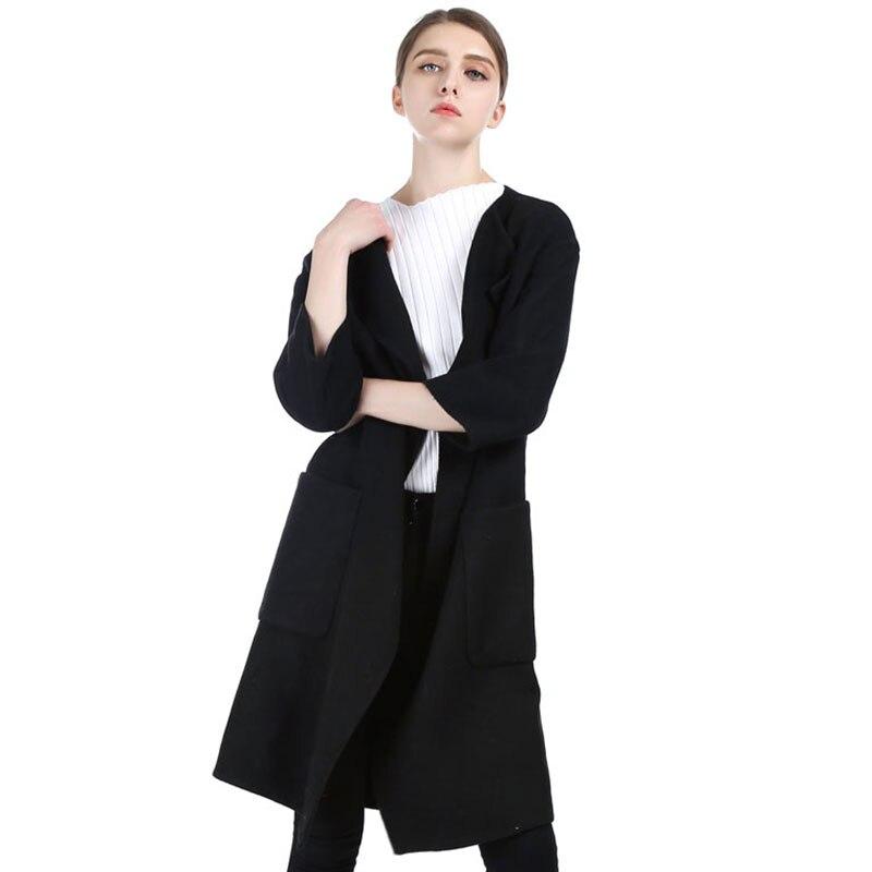 Vintage Qadın Qara Uzun Cashmere Palto 2017 Yeni Yun Palto Qadın - Qadın geyimi - Fotoqrafiya 4