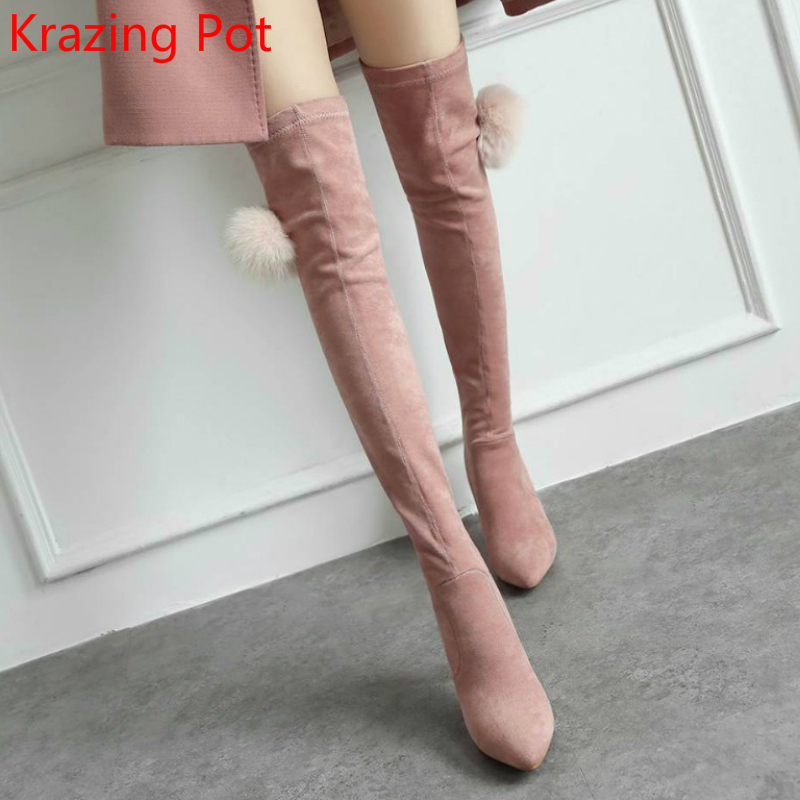 New Arrivel Flannel Mink Hair Brand Winter Shoes Keep Warm Thigh High Boots Thin Heels P ...