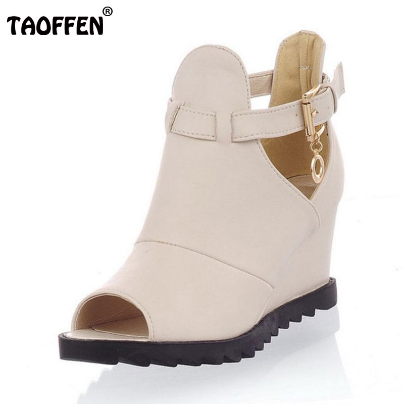 TAOFFEN Women's High Heel Sandals Platform Ladies Gladiator Wedge Shoes Summer Platform Sandals Zapatos Mujer Size 34-39 PA00764 candy color pompom wedge sandals braid platform high heel lace up gladiator sandals women pumps fringe summer ladies shoes woman