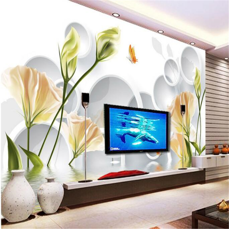 beibehang 3d custom photo wallpaper wall murals wall stickers Warm lily reflection 3D stereo TV backdrop nonwoven wallpaper