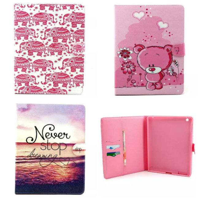 Stand Case For ipad 2 3 4 Pu Leather Elephant Cute Bear Painted patterns Protective Cover Case For ipad Tablet
