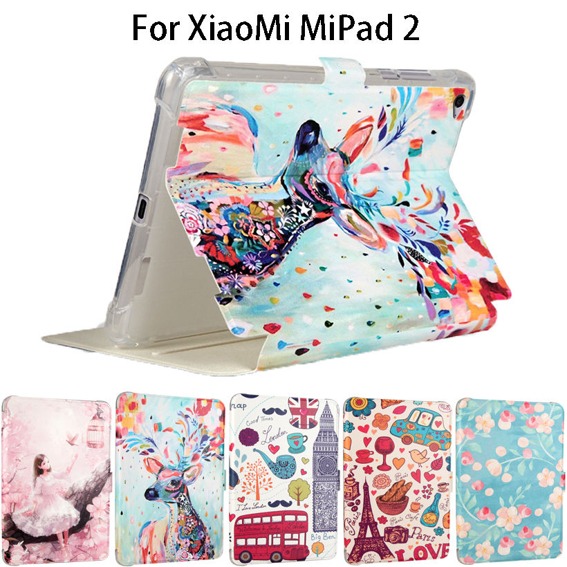 Fashion Painted Silicone Leather Funda Case For Xiaomi Mipad 2 Mipad 3 Mipad3 mipad2 7.9 Smart Cases Cover Tablet Flip shell luxury pu leather case cover for xiaomi mi pad 1 2 3 mipad 2 3 7 9 tablet pc sleeve pouch bag cases for mipad3 can satnd case