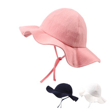 купить Fashion Panama Baby Girls Hat Cotton Sun Hat For Girls Lace-Up Wild Brim Beach Cap Bucket Hat Summer Princess Baby Girl Clothing дешево