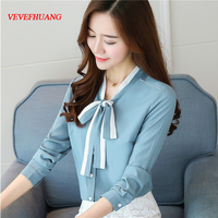Korean Fashion New Fall Clothes Women V neck Long Sleeve Chiffon Top Shirt OL Ladies Business Chiffon Blouses
