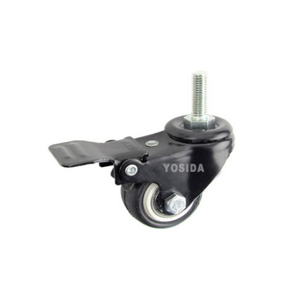 New 1.5'' Double Bearing with Brake Furniture Caster Durable PU Univesal Wheel Rolling M10 Swivel Castor Industrial wheels