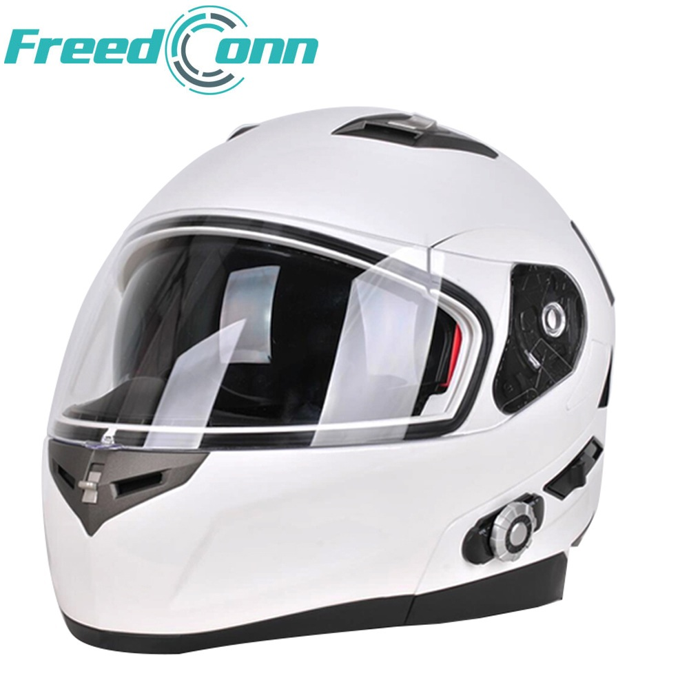 New FreedConn Smart Bluetooth Helmet Built In Intercom System Support 2 Riders Bluetooth Motorcycle FM Motorcycle BT Interphone
