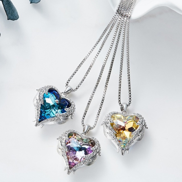Cdyle Crystals from Swarovski Necklaces Zircon Fashion Jewelry for Women Pendant 2018 Blue Rhinestone Luxury Set Heart Statement 2