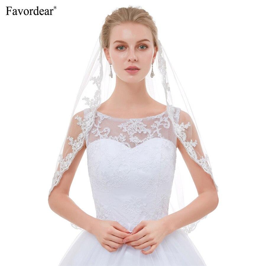 Favordear Hot Sale 2018 New Arrival Top End Lace Veils For Brides Velo De Novia White Ivory Vintage Short Elbow Wedding Veils