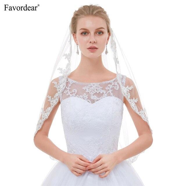 Favordear Hot Sale 2018 Baru Kedatangan Top End Renda Kerudung Untuk Velo De Novia pengantin Putih Gading Vintage Siku Pernikahan Kerudung Pendek