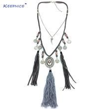 Женские винтажные украшения из тибетского серебра длинное ожерелье