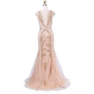 Image 5 - Finove Elegant Mermaid Evening Dresses Long 2020 New Style Scoop Neck Capped Beading Embroidery Gray Prom Gown Vestido de Festa
