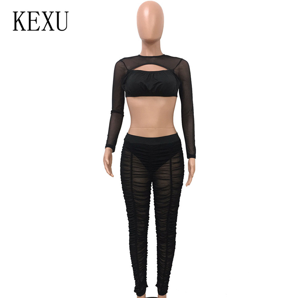 KEXU Fashion Romper Two Pieces Sets See Through Long Sleeve Playsuits Casual Hollow Out Perspective Mesh Bodycon Jumpsuits in Jumpsuits from Women 39 s Clothing