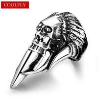 Vintage Skeleton Rings For Men Gothic Style 316L Titanium Steel Biker Viking Lord Of The Skull