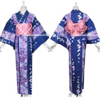 Japanese Woman Kimono Summer Kimono Beautiful Yukata Waistband Headdress Shoes