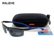 RALIZHE Brand Mens Womens HD Polarized Sunglasses Aluminum Magnesium Alloy Sun Glasses Rimless Rectangle Sport Driving Shooting