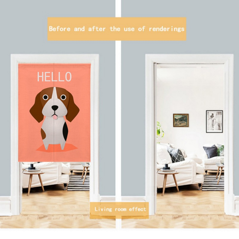 For Home Decoration Cartoon Animal Printed Cotton And Linen Japanese Style Noren Doorway Curtain Hanging Tapestry-in Window Screens from Home & Garden
