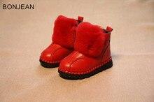 Экспресс-доставка 2018 зима детская круглый носок детские кожаные ботинки теплые девушки хлопок сапоги 2654