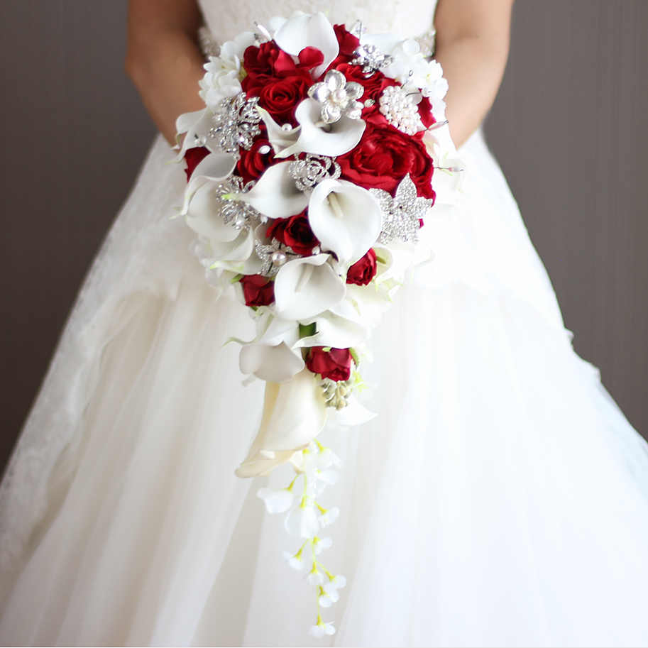 2018 Waterfall Red Wedding Flowers Bridal Bouquets Artificial
