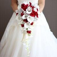2018 водопад Красные Свадебные цветы Свадебные букеты искусственные жемчужины Кристальные Свадебные букеты букет де мариаж Роза