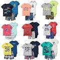 2017 Novo estilo do Verão das meninas dos meninos macacão terno 3 pcs Roupas de Bebê set, de manga curta e calções de algodão miúdo roupas