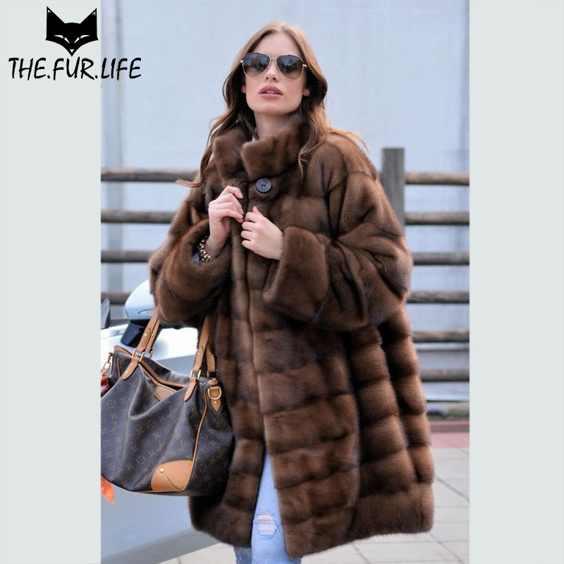 Women Real Fur Coats Mink Fur Coat From Nature Fur Long Mink Jackets With Warm Stand Collar Plus Size Capped Women Winter 2018