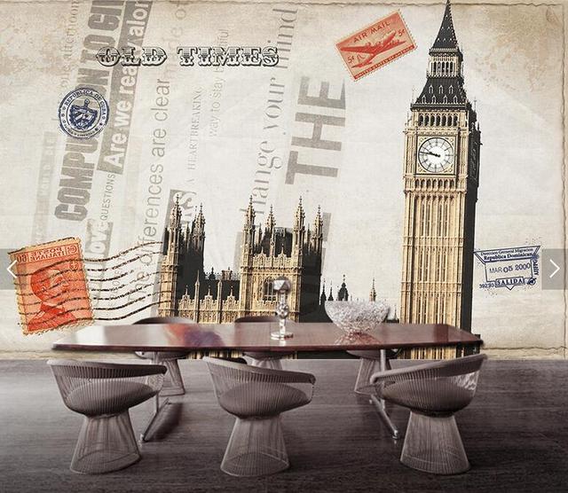 17d77f828 الأوروبية الرجعية ورق حائط لندن ساعة مدينة المشهد خلفيات الفن لغرفة المعيشة  مخصص 3d الصورة الجداريات