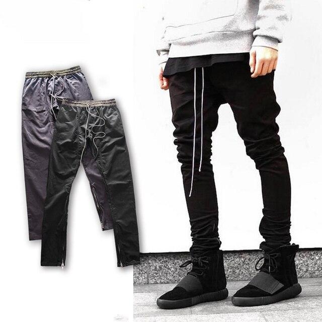 Nuovi Uomini Abbigliamento Hip Hop Fresco Pantaloni Della Tuta scarni  felpati justin Bieber lato Cerniera Dei d91af5cb33e0