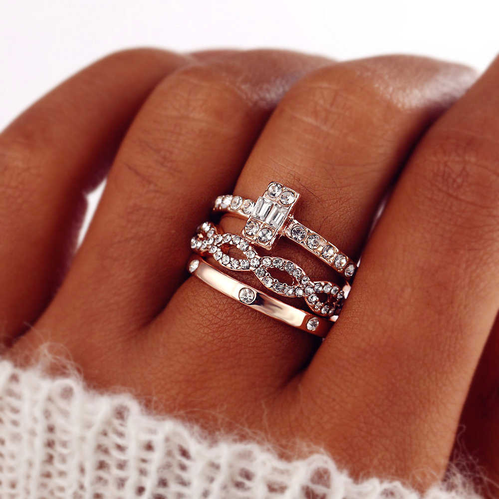 3 teile/satz Mode Unendlichkeit Ringe Set Für Frauen Mädchen Kristall Twist Ring Paare Gold Weibliche Engagement Hochzeit Schmuck 2018 Neue