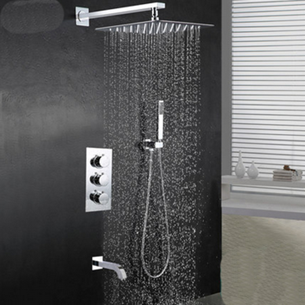 Wall Mount Rainfall Shower Faucet Brass Chrome Shower Mixer Tap 8 Thermostatic chrome polished rainfall solid brass shower bath thermostatic shower faucet set mixer tap with double hand sprayer wall mounted