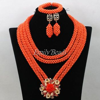 Indian Bridal Coral Beads Necklace Set Nigerian Wedding Handmade Costume African Jewelry Set Big Party Beads Free Shipping CJ655