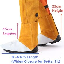 Welding Spats Safety Boot Flame/Heat/Abrasion Resistant Cowhide Leather Working Shoe Covers Protector Leather Welding Gaiter(China)