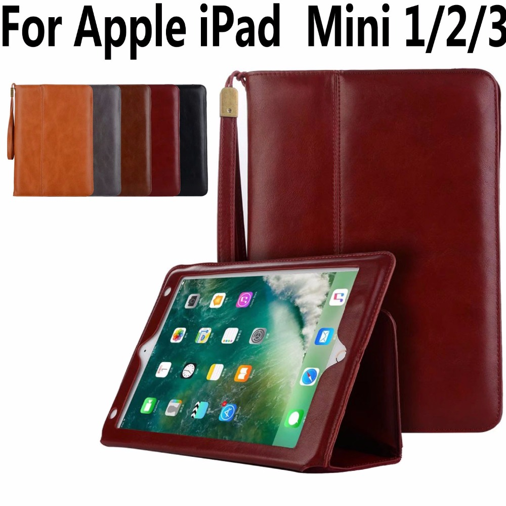 все цены на High Quality Leather Case for Apple iPad Mini 1 2 3 Handheld Magnet Smart Case Cover for iPad Mini 1 2 3 7.9 with Card Pocket онлайн