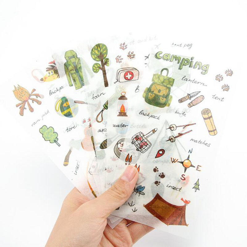 6pcs/package Camping Equipment Transparent Sticker Travel Life Decoration Art Stickers Student Stationery Diy Diary Scrapbook