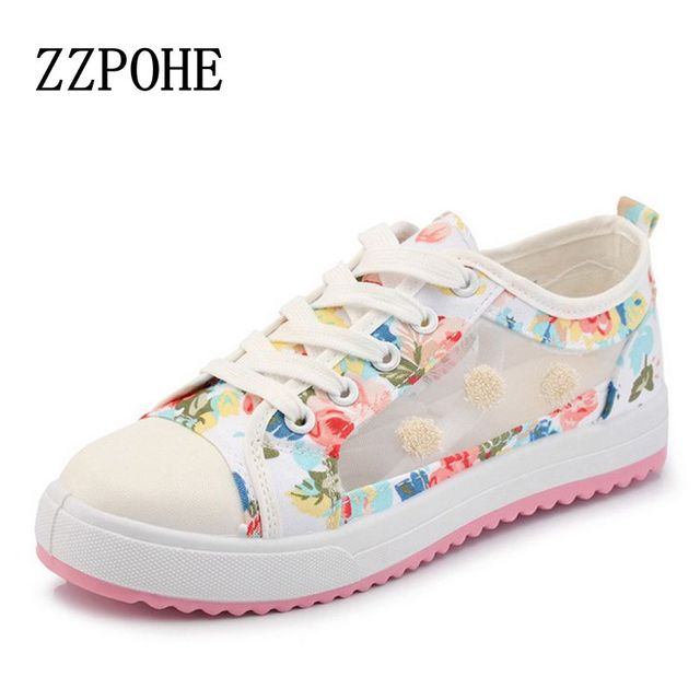 2017 spring and summer sweet woman fashion breathable mesh shoes comfortable flat shoes woman student girls shoes free shipping