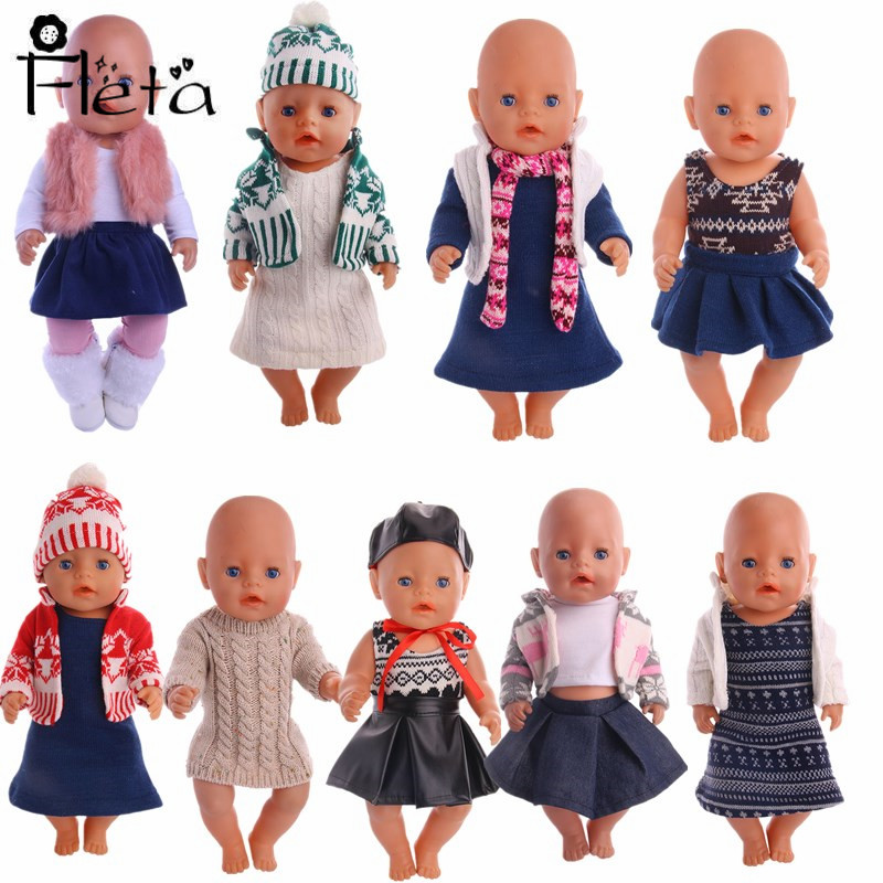 Doll Clothes Sweater Set=Hat+Scorpion+Skirt For 18-inch American&43 Cm Born Baby Our Generation Of Christmas Birthday Gift