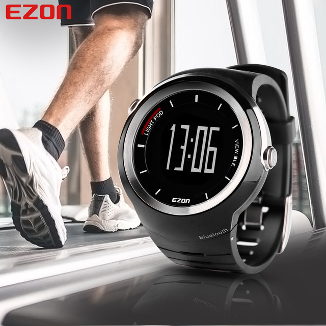 EZON Pedometer Smart Bluetooth Men Sport Watches Waterproof 50m Calories Count Digital Watch Running Wristwatch Montre Homme ezon outdoor sports for smart gps watches running male multifunctional 5atm waterproof electronic watch g1 black