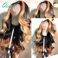 Side part Lace Front Human Hair Wigs 130% 180% Density Ombre Highlight color Brazilian Remy Hair Pre-Plucked 13x6 Wavy Qearl