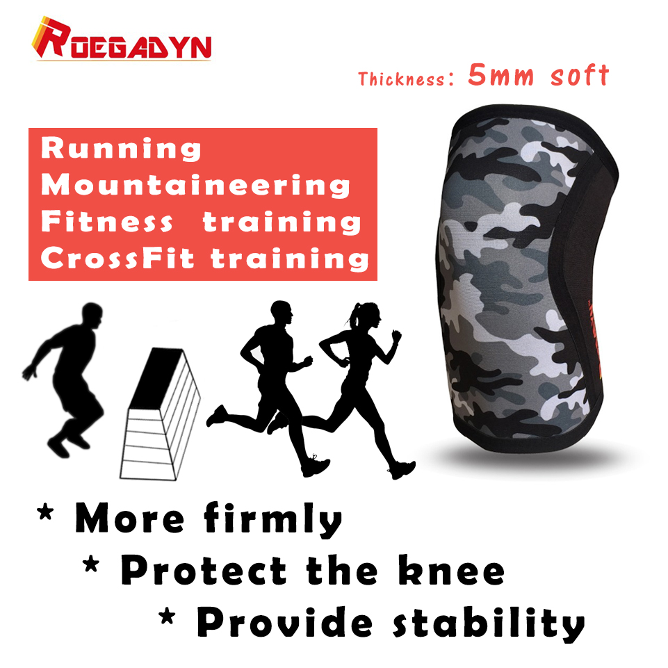 ROEGADYN Most Popular Soft Powerlifting 5mm Neoprene Cool CrossFit Weightlifting Knee Support Compression Knee Sleeve Brace цена