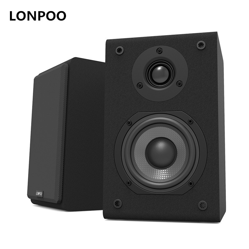 LONPOO Bookshelf Speaker Pair 2-Way 75W *2 Classic Wooden Loudspeaker with 4-inch Carbon Fiber Woofer and Silk Dome Tweeter lonpoo home theatre bookshelf speaker pair 75w classic wooden passive speakers 4 inch carbon fiber woofer and silk dome tweeter