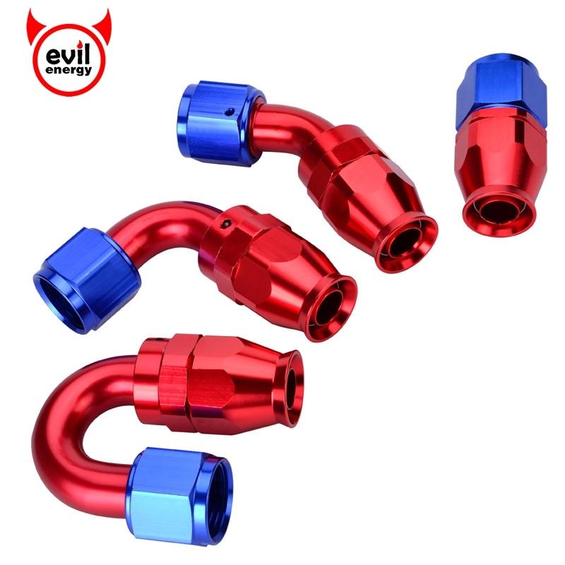 AN10 obrotowe PTFE końcówki do węża prosto 45 90 180 stopni PTFE przewód paliwowy do oleju
