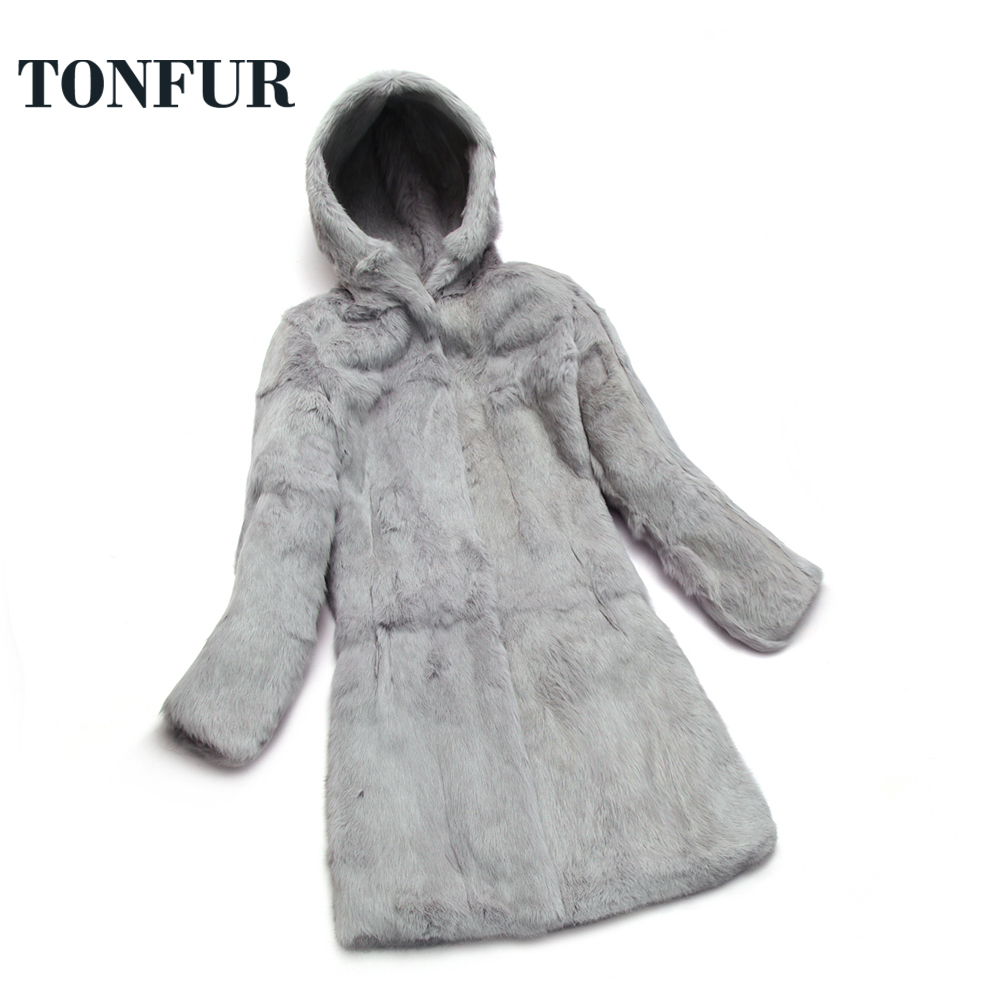 Real Fur Coat Hooded Natural Whole Skin 100% Rabbit Fur Long Coat Plus Size Factory Real Price Sale Low Discount Sr655