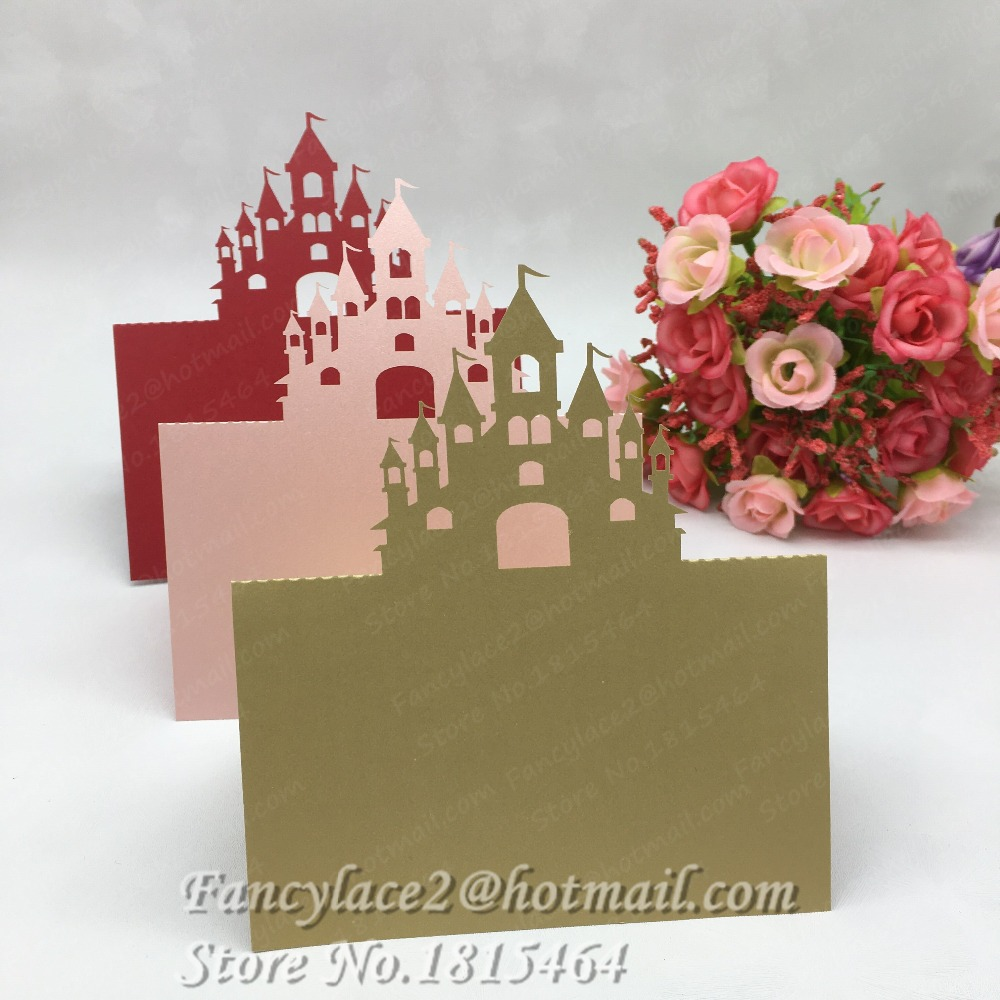 50pcs New Laser Cut Castle Damask Name Place Cards Table Cards Wedding Party Restaurant Banquet Invitation Cards Supplies
