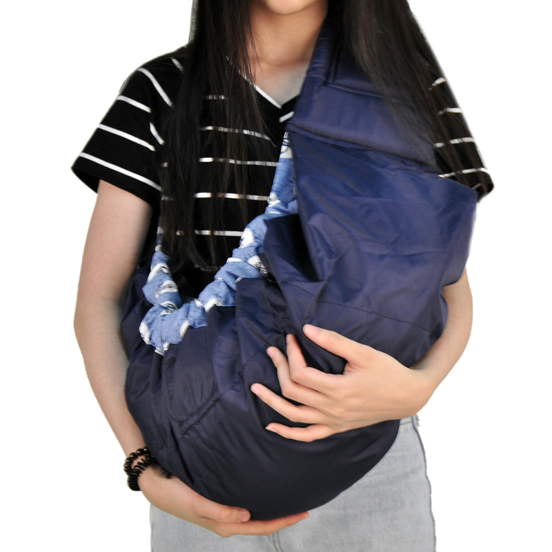 Quality economic baby carrier front facing Organic Cotton Stretch sling backpack Infant side wrap basket Blue