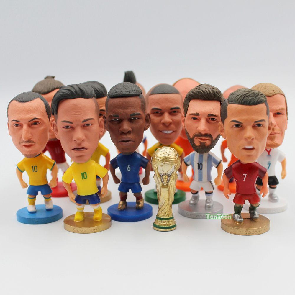 Soccerwe 1Pcs Soccer Football National Team Dolls Ronaldo Messi Neymar Beckham 2.5