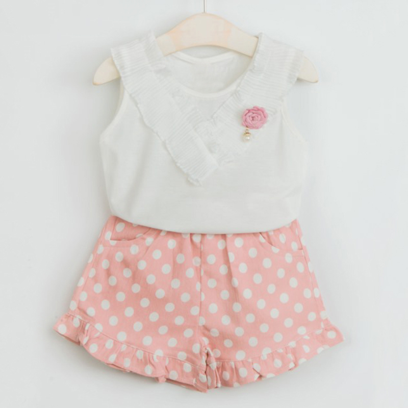 Girls Suits 2018 New Summer Style Children Point Printed Clothing Sets Kids White T-shirt and Pink Pants 2 Pieces Clothing Suits